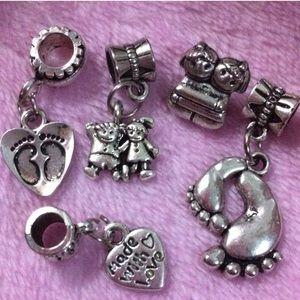 Jewelry - Twins girl charm, foot print heart silver charm